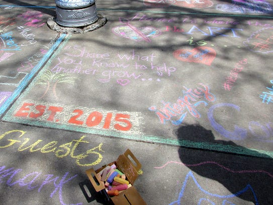 Students decorated the sidewalk outside Finn Academy