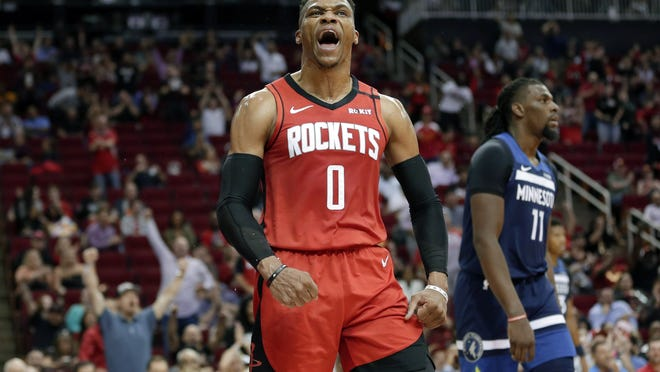 """Houston's Russell Westbrook tested positive for the coronavirus before leaving for Florida and says he feels fine before urging everyone to """"please take this virus seriously."""""""