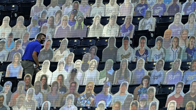 A Kansas City Royals employee searches for a foul ball among a group of fan cutouts during the fourth inning of a baseball game against the Chicago White Sox Friday, July 31, 2020, in Kansas City, Mo.