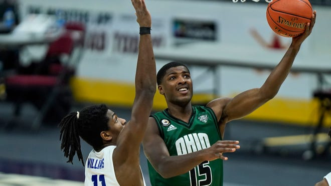 Former St. Vincent-St. Mary standout Lunden McDay will help to lead Ohio University into a game against No. 4 seed Virginia in the NCAA Tournament on Saturday. [Tony Dejak/Associated Press]