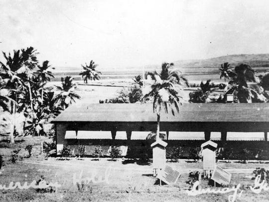 The Pan America Airways Hotel is shown in this 1935 photo along the shores of Apra Harbor, Sumay.