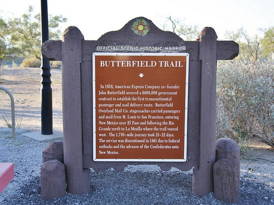 This marker gives visitors to southern New Mexico a glimpse into the history of the Butterfield Trail.