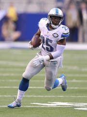 Lions running back Theo Riddick runs for a first down against the Indianapolis Colts on Sunday, Sept. 11.