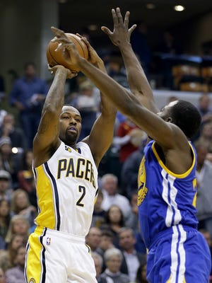 Indiana Pacers guard Rodney Stuckey (2) shoots over Golden State Warriors forward Kevin Durant  in the first half of their game Monday, Nov. 21, 2016,  at Bankers Life Fieldhouse.