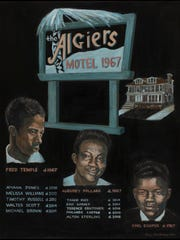 """1967: Death in the Algiers Motel and Beyond,"" 2017, Rita Dickerson, acrylic on canvas."