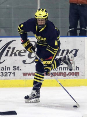 Max McIllmurray scored two goals for Hartland in a 9-1 victory over Flint Powers Catholic on Wednesday, Feb. 7, 2018.