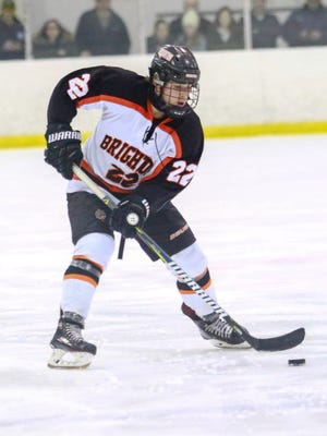 Matthew Kahra has two goals and one assist in each of Brighton's three playoff hockey games.