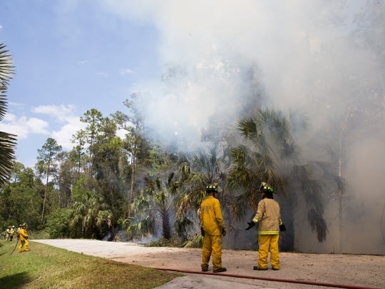 Firefighters with the Florida Forest Service, the Greater Naples Fire Department and the North Collier Fire Department monitor a brush fire along Mahogany Ridge Drive on Tuesday, April 11, 2017, in Naples. By midafternoon the fire was reported to be 100 percent contained, and roughly 3 acres of land had been burned.