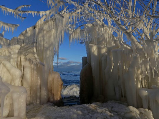 An archway of frozen trees formed by ice.