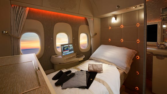 This file photo shows a new first-class suite on Emirates'
