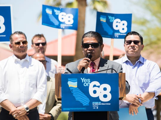 Torres Martinez Tribe Chairman, Thomas Tortez speaks in favor of state Proposition 68 during a rally at Rancho Las Flores park in the city of Coachella on May 12, 2018.