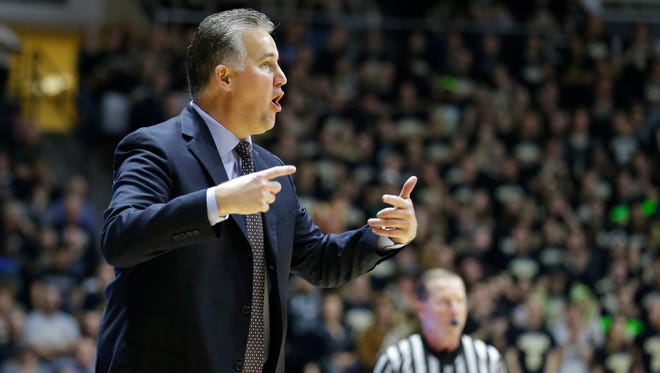 Purdue head coach Matt Painter in the second half of an NCAA college basketball game against Youngstown State in West Lafayette, Ind., Saturday, Dec. 12, 2015. Purdue defeated Youngstown State 95-64. (AP Photo/Michael Conroy)