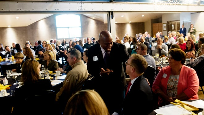 Attendees mingle during the 2017 Top Workplaces presented by the Knoxville News Sentinel at The Foundry on the Fair Site in Knoxville, Tennessee on Tuesday, June 20, 2017.