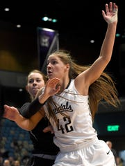Idaho's Natalie Klinker, front, and Portland State's