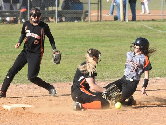 Calico Rock's Kaylee Pool slides into second base,
