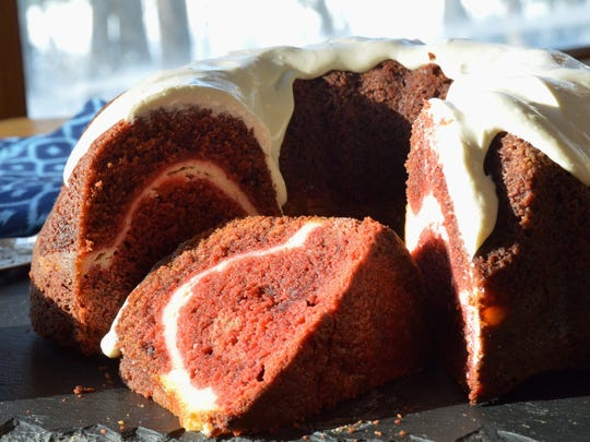 Red velvet cake baked in a bundt pan needs just a cream cheese glaze on top.