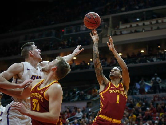 Iowa State junior guard Nick Weiler-Babb pulls up a