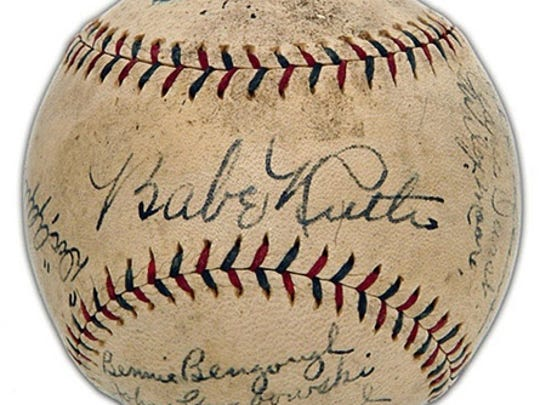 """Burlington police released this photograph of a """"similar"""" baseball signed by Babe Ruth that was reported stolen from a North Prospect Street home last week."""