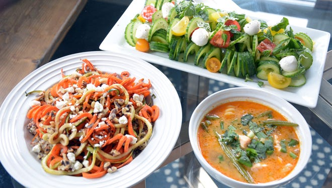 Roasted Spiralized Carrot, Feta and Walnut Salad, Spiralizer Cucumber Caprese Salad and Salmon Coconut Curry with Turnip Noodles all begin with a spiralizer.