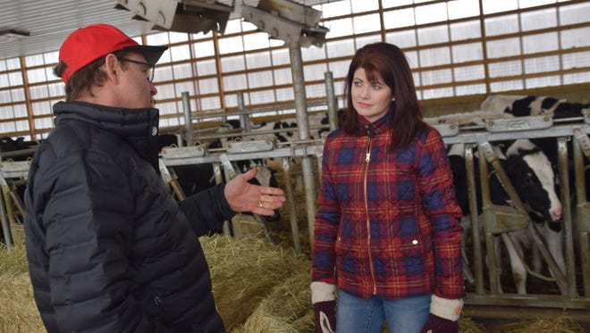 Lt. Gov. Rebecca Kleefisch chats with Jeff Endres, the co-owner and operator of Endres Berryridge Farms LLC.