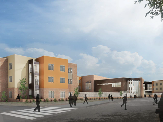 An architectural rendering of the proposed student