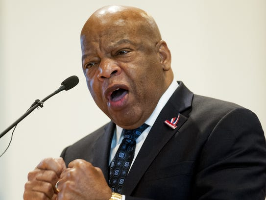 U.S. Congressman John Lewis speaks during a Bloody