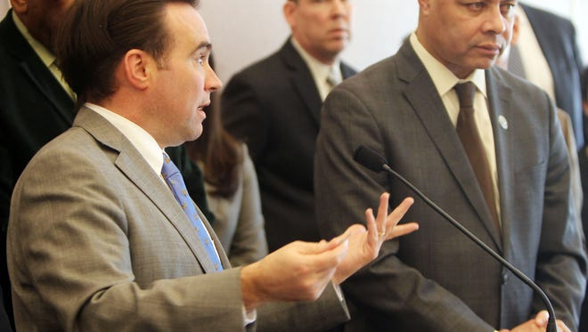 Cincinnnati Mayor John Cranley discusses alleged irregularities and procurement practices of past management of the Metropoitan Sewer District at a press conference at City Hall.