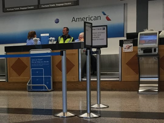 The American Airlines check-in counter at the Ithaca Tompkins Regional Airport.