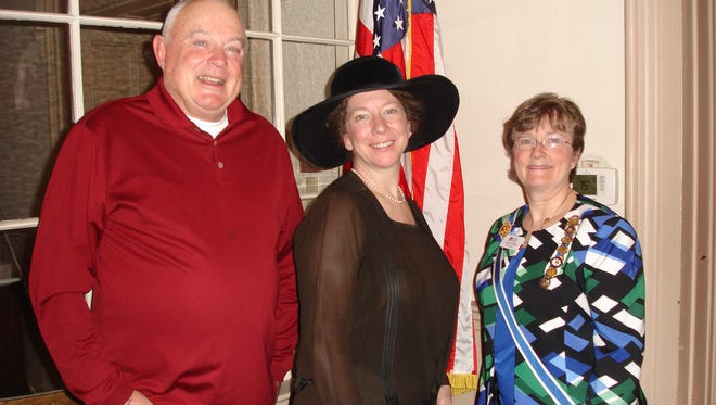 The Greenwich Tea Burning Chapter of the Daughters of the American Revolution celebrated the 125th anniversary. (From left) Allen Jackson, president of the New Jersey Blue Bird Society; Kim Hanley, an actress/historian; and Cornelia B. Olde, a New Jersey state regent of the Daughters of the American Revolution, are pictured at the event.