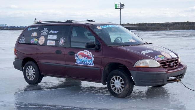 Rotary clubs of Manitowoc County have placed a car on the Lake Michigan ice at Manitowoc Marina, 425 Maritime Drive, as a fundraiser. Whoever guesses the date and time it will fall through the ice could win more than $1,000.