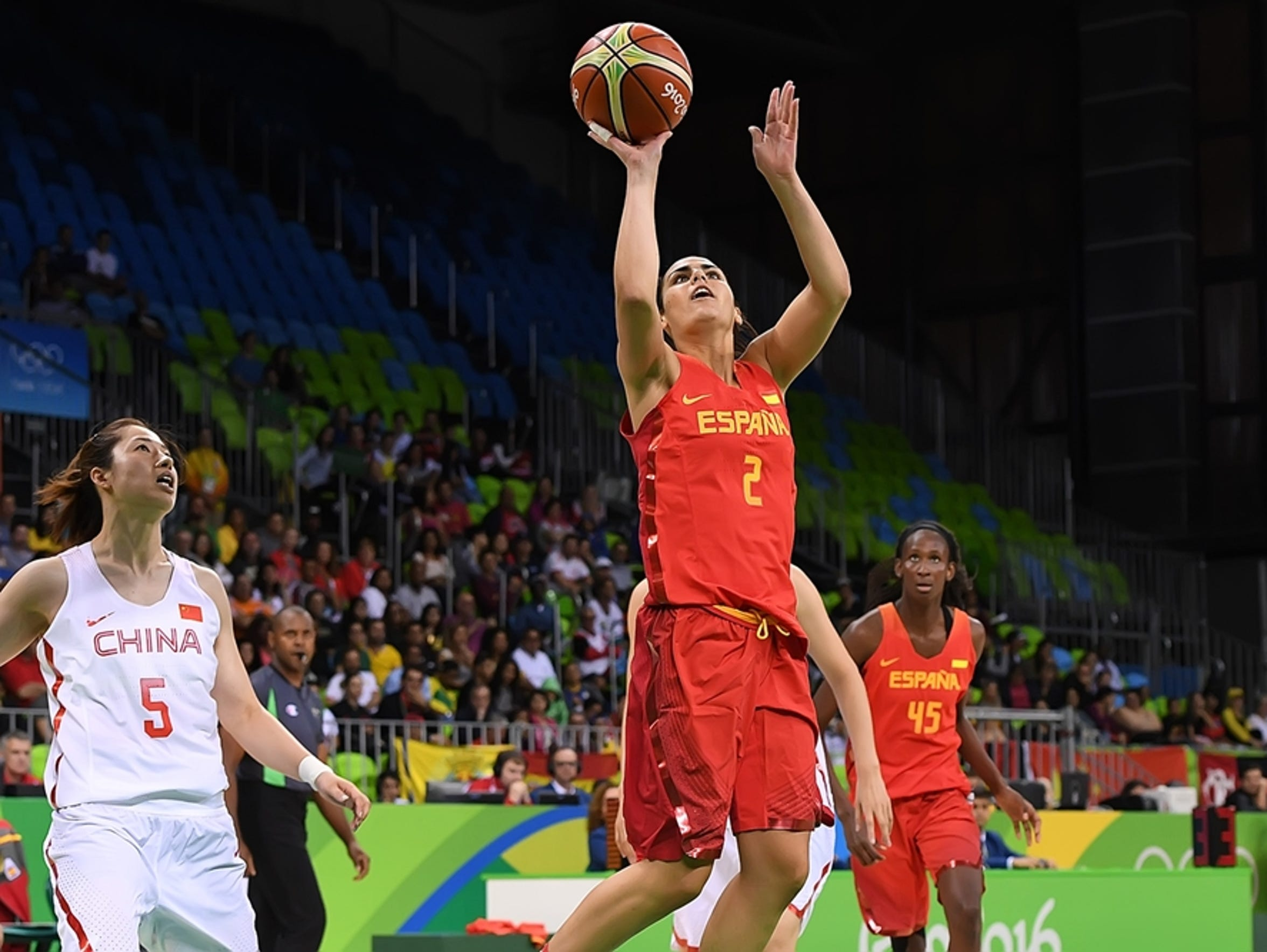 Romero scores two of her 16 points against China at