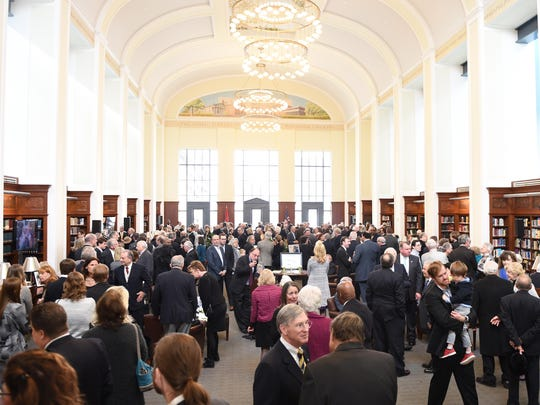 People filled the Downtown Nashville Library's Grand Reading Room for a public service honoring John Jay Hooker on Sat., Feb. 6, 2016.