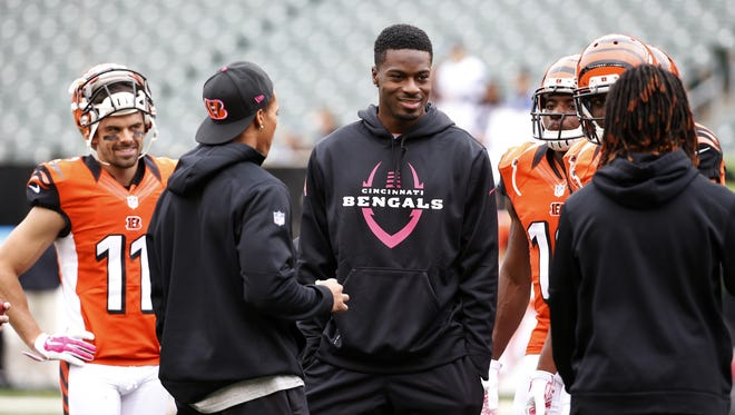 Cincinnati Bengals wide receiver A.J. Green (18) was out for Sunday's game against the Carolina Panthers at Paul Brown Stadium.