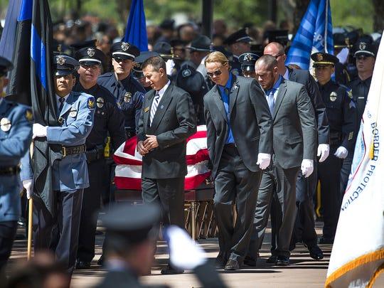 The casket of Phoenix Police Officer David Glasser