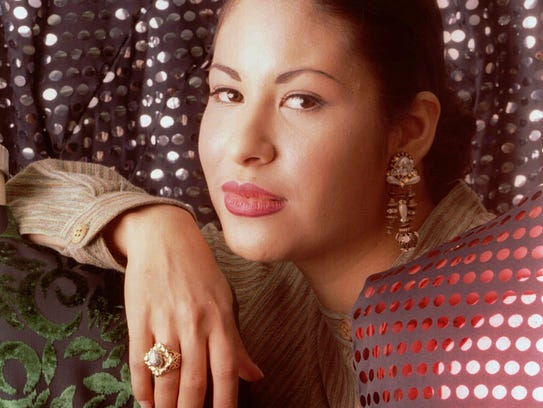 Tejano music star Selena poses March 7, 1995, in Corpus