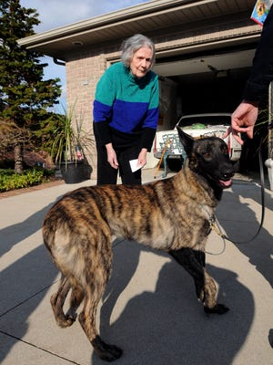 Dorothea Knight meets new Port Huron police dog, Knight, Wednesday, April 13, at her home in St. Clair Township. Knight donated money for a new K9 vehicle and dog.
