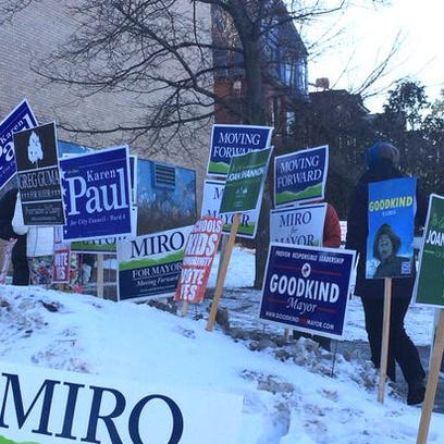 Signs greet voters in Burlington.