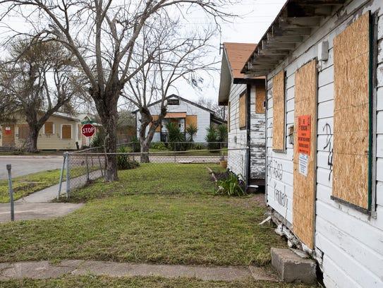 Bordered up homes in Corpus Christi's Hillcrest neighborhood