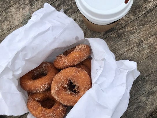 The cider doughnuts at Harvest Moon are served warm