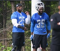 One half of the Lions' backfield tandem appears to...