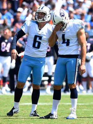 Titans kicker Ryan Succop (4) reacts to his missed field goal with holder Brett Kern (6) in the second quarter of a preseason game against the Bears on Sunday, Aug. 27, 2017, at Nissan Stadium.