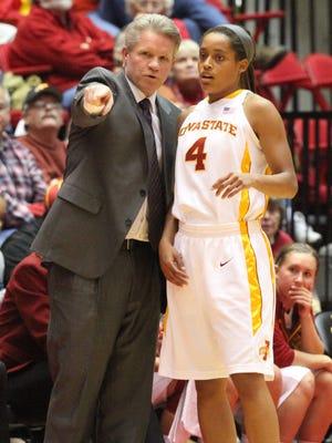 ISU head coach Bill Fennelly talks to Nikki Moody during a 2012 game against Drake.