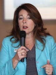 La Quinta Mayor Linda Evans speaks during the La Quinta Chamber of Commerce candidate forum at PGA West, September 21, 2016. Evans is seeking a second two-year term.