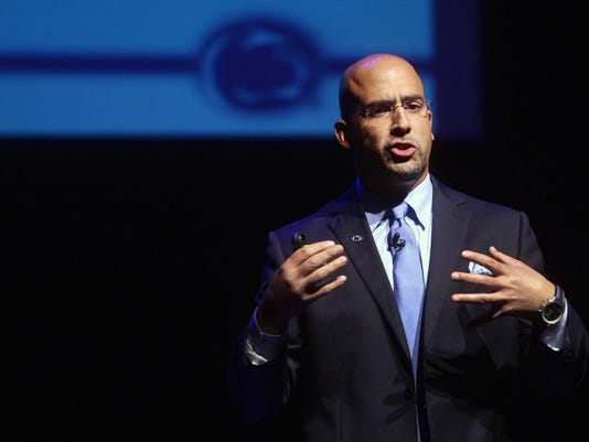Penn State football head coach James Franklin speaks during the Manufacturers' Association annual meeting at the Pullo Center at Penn State York Wednesday, April 22, 2015.