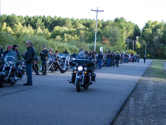 Motorcycles lined up to ride