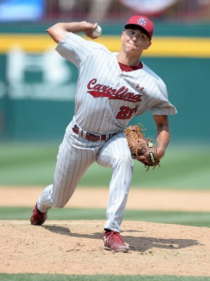 South Carolina pitcher Tyler Johnson (21) has accepted an invitation from USA Baseball to participate in its training camp for the 2016 Collegiate National Team.