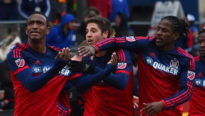 Chicago Fire defender Adailton dos Santos Filho reacts after scoring a goal against the Philadelphia Union at Toyota Park.