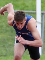 Pearl River's Thomas Wilson won the 400-meter dash during the second day of the Rockland County track and field championships at Clarkstown South High School May 18, 2018.