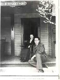 Thomas Wolfe and his mother Julia on the porch of the Old Kentucky Home during his visit to Asheville in 1937.