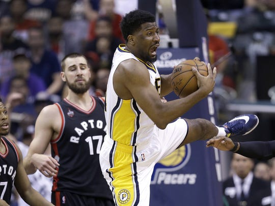 Indiana Pacers forward Solomon Hill (44) pulls in a rebound  in the second half of their Eastern Conference first round playoff game Saturday, April 23, 2016, afternoon at Bankers Life Fieldhouse. The Pacers defeated the Raptors100-83.